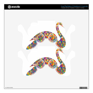 colorful swan PS3 controller decals