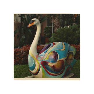 Colorful Swan Statute in Lakeland Wood Wall Art