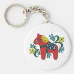 Colorful Swedish Dala Horse Basic Round Button Keychain