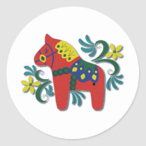 Colorful Swedish Dala Horse Classic Round Sticker