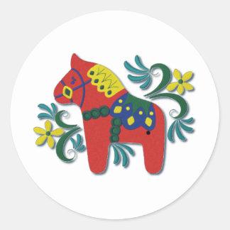 Colorful Swedish Dala Horse Classic Round Sticker