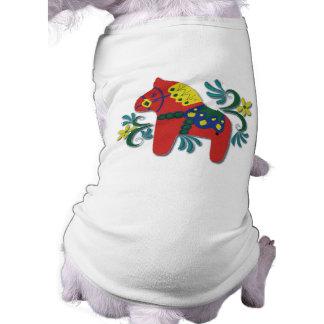 Colorful Swedish Dala Horse Dog T Shirt