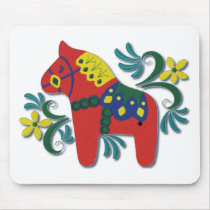 Colorful Swedish Dala Horse Mouse Pad