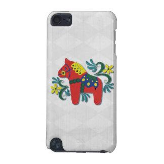Colorful Swedish Dala Horse on Diamond Pattern iPod Touch 5G Cover