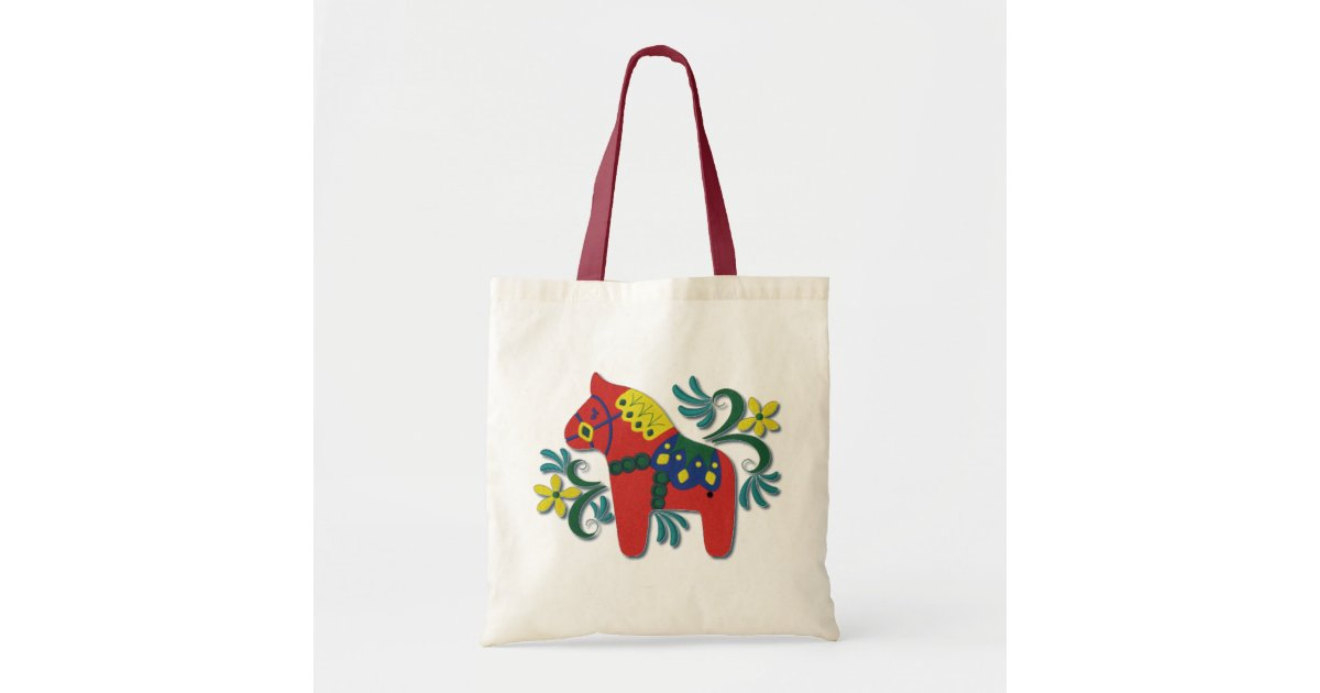 Colorful Swedish Dala Horse Tote Bag Zazzle