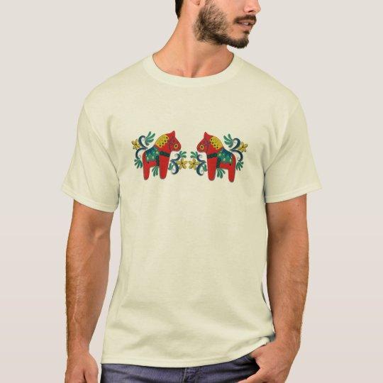 Colorful Swedish Dala Horse Twins T-Shirt