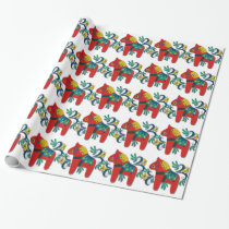 Colorful Swedish Dala Horse Wrapping Paper