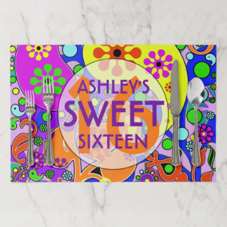 Colorful Sweet 16 Birthday Party Paper Placemat