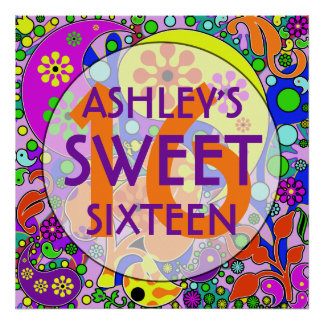 Colorful Sweet 16 Birthday Party Wall Decor