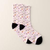 Colorful Sweet Cupcakes Pattern Socks
