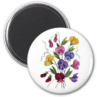 Colorful Sweet Peas Embroidered 2 Inch Round Magnet