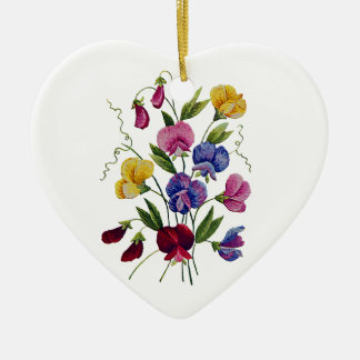 Colorful Sweet Peas Embroidered Ceramic Ornament