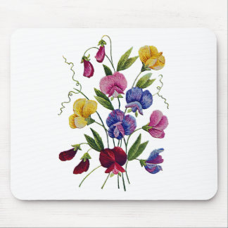 Colorful Sweet Peas Embroidered Mouse Pad