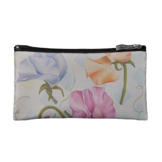 COLORFUL SWEET PEAS MONOGRAMED COSMETIC/CLUTCH BAG