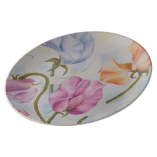 COLORFUL SWEET PEAS WALL PLATE PORCELAIN PLATES