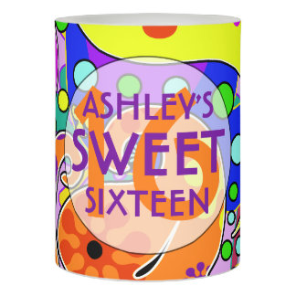 Colorful Sweet Sixteen Centerpiece Flameless Candle