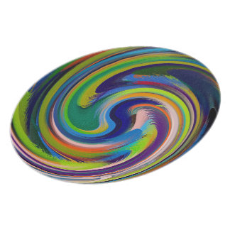 Colorful Swirl Abstract #10 Melamine Plate