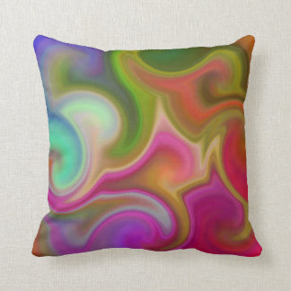 Colorful Swirl Abstract Throw Pillow