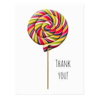 Colorful Swirl Lollipop Postcard