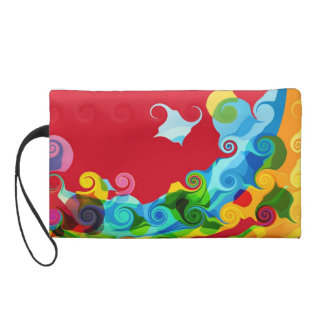 Colorful Swirl Retro Funky Painting Abstract Art Wristlet Purse