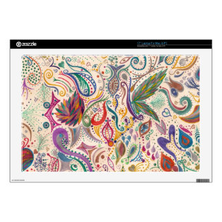 colorful swirls and doodles laptop skin