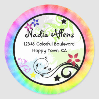 Colorful Swirls and Tie Dye Address Label