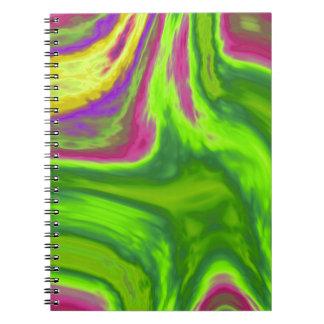Colorful swirls background spiral notebook
