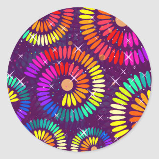 Colorful Swirls Curls Abstract Art Classic Round Sticker