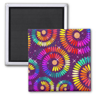 Colorful Swirls Curls Abstract Art Magnet