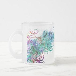 COLORFUL SWIRLS FROSTED GLASS COFFEE MUG