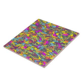 Colorful Swirls on Dark Gray - Emergent Energy Ceramic Tile