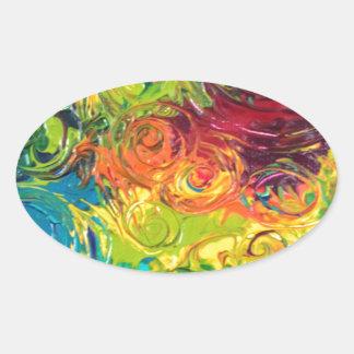 Colorful Swirls Oval Sticker
