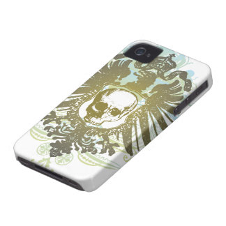 Colorful swirls skull crest cool blackberry bold Case-Mate iPhone 4 case