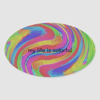 colorful swirls oval stickers