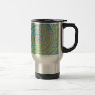 Colorful swirly pinwheel design travel mug