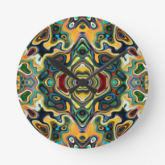 Colorful Symmetric Abstract Round Wallclocks