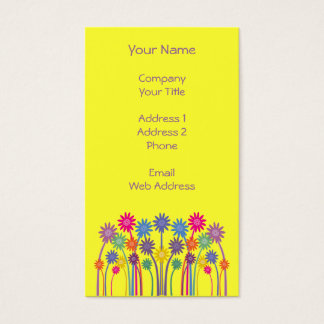 Colorful Symmetrical Flowers Customizable Yellow Business Card