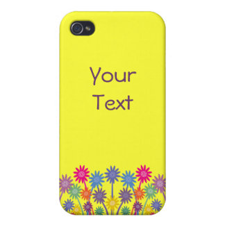 Colorful Symmetrical Flowers CustomizableYellow Covers For iPhone 4
