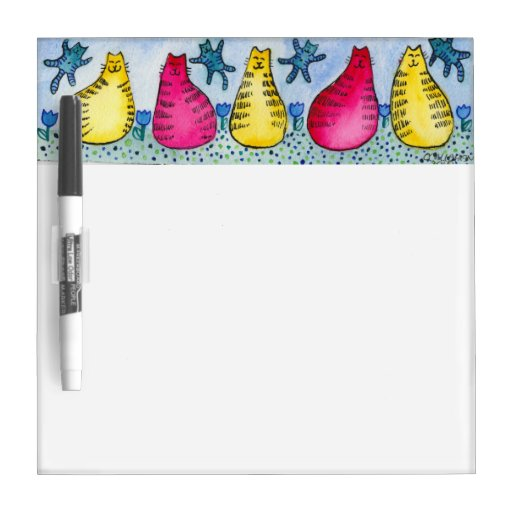 Colorful Tabby Cat Art Dry Erase Whiteboards