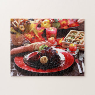 Colorful table decorated for Thanksgiving Jigsaw Puzzle