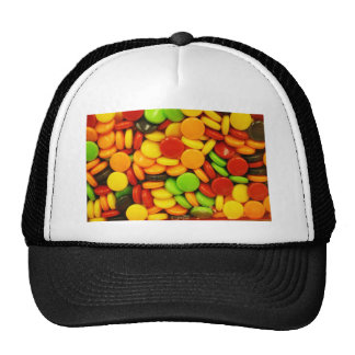 Colorful tablet candies mesh hat