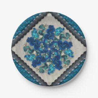 Colorful Tahitian Clams Mandala 7 Inch Paper Plate