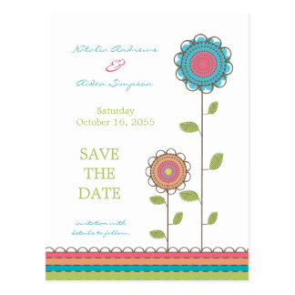 Colorful Tall Flowers Save the Date Postcard