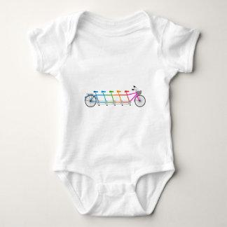 colorful tandem bicycle, team bike baby bodysuit