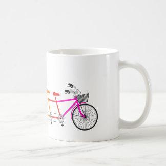 colorful tandem bicycle, team bike coffee mug