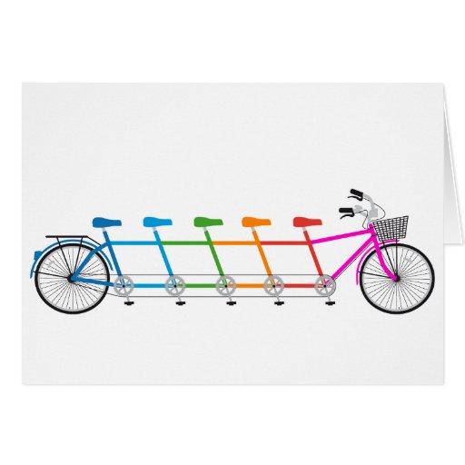 colorful tandem bicycle, team bike greeting cards