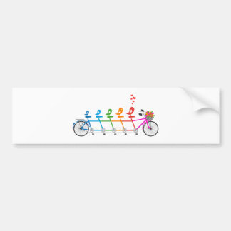 colorful tandem bicycle with cute birds family bumper sticker