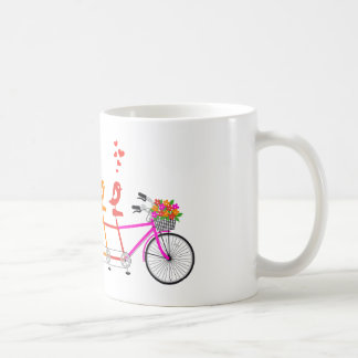 colorful tandem bicycle with cute birds family coffee mug
