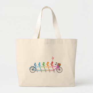 colorful tandem bicycle with cute birds family large tote bag