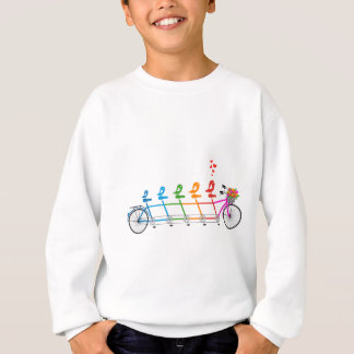 colorful tandem bicycle with cute birds family sweatshirt